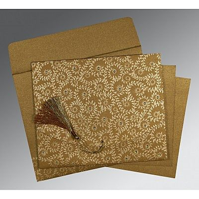 SATIN GOLD SHIMMERY SCREEN PRINTED WEDDING INVITATION : CG-8217C