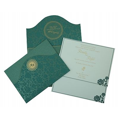 GREEN SHIMMERY FLORAL THEMED - SCREEN PRINTED WEDDING INVITATION : CS-802C