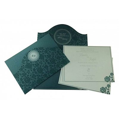 SAGE GREEN SHIMMERY FLORAL THEMED - SCREEN PRINTED WEDDING INVITATION : CW-802D