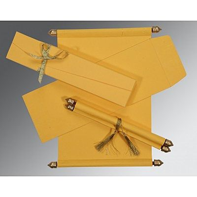YELLOW HANDMADE SILK WEDDING CARD : SC-5001C