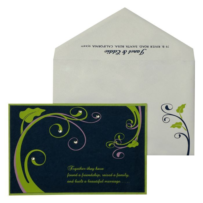 PARROT GREEN BLUE HANDMADE SILK FLORAL THEMED - SCREEN PRINTED PARTY CARDS : PY-883 - 123WeddingCards