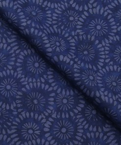 Absoluto Dark Blue Floral Printed Unstitched Terry Rayon Bandhgala or Blazer Fabric