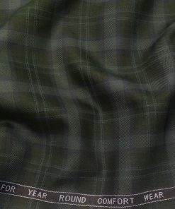 Augustus Men's Dark Green Terry Rayon Broad Checks Unstitched Suiting Fabric - 3.75 Meter
