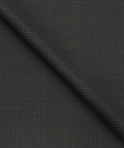Italian Channel Men's Terry Rayon Self Checks Unstitched Suiting Fabric (Dark Grey)