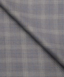 Marcellino Men's Terry Rayon Plaid Checks Unstitched Suiting Fabric (Blueish Grey)