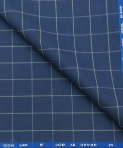 OCM Men's White Checks 45% Merino Super 100's Wool Unstitched Suiting Fabric (Royal Blue)