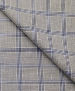 Absoluto Men's Terry Rayon Unstitched Broad Checks Suiting Fabric (Light Grey)