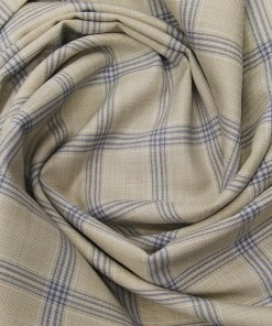 Absoluto Men's Terry Rayon Unstitched Broad Checks Suiting Fabric (Beige)