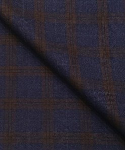 Don & Julio Men's Terry Rayon Unstitched Checks Suiting Fabric (Indigo Blue)