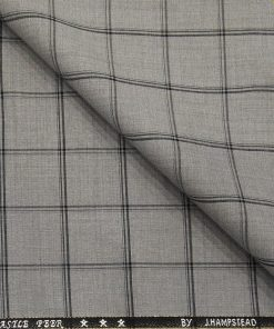 J.Hampstead Men's Poly Wool Super 100s Unstitched Black Checks Suiting Fabric (Light Grey)