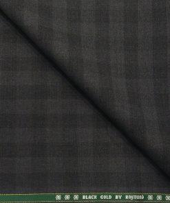 Raymond Men's Wool Super 120s Unstitched 3.25 Meter Self Checks Suiting Fabric (Dark Grey)