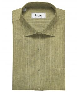 Linen Club Men's Linen 80 LEA Striped Unstitched Shirting Fabric (Light Brown)