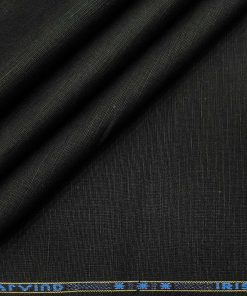 Arvind Men's Cotton Linen Self Design Unstitched Shirt Fabric (Black)
