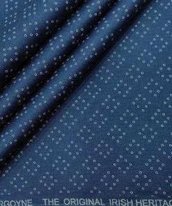 Burgoyne Men's 60 LEA Irish Linen Printed Unstitched Shirting Fabric (Royal Blue)