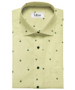 Burgoyne Men's 60 LEA Irish Linen Printed Unstitched Shirting Fabric (Light Yellow)