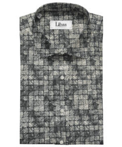 Pee Gee Men's Cotton Printed Unstitched Shirting Fabric (Grey & Black)