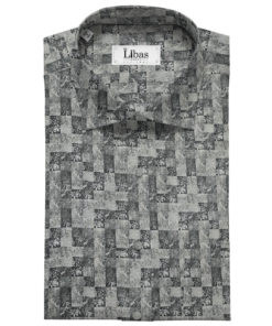 Pee Gee Men's Cotton Printed Unstitched Shirting Fabric (Dark Grey)