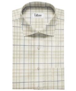 Soktas Men's Giza Cotton Checks Unstitched Shirting Fabric (White & Brown)