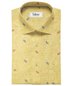 PEE GEE Men's Cotton Printed 2.25 Meter Unstitched Shirting Fabric (Yellow)
