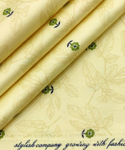 Solino Men's Cotton Printed 2.25 Meter Unstitched Shirting Fabric (Daffodil Yellow)