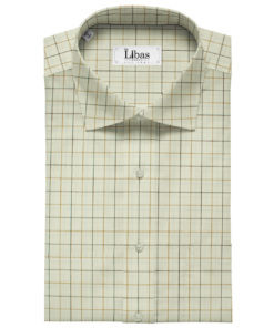 Arvind Men's Cotton Checks Unstitched Shirting Fabric (Cream)
