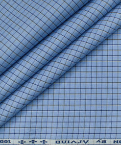 Arvind Men's Cotton Checks Unstitched Shirting Fabric (Light Blue)