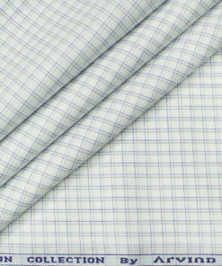 Arvind Men's Cotton Checks Unstitched Shirting Fabric (Milky White)