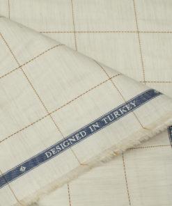 Soktas Men's Giza Cotton Checks Unstitched Shirting Fabric (Cream)
