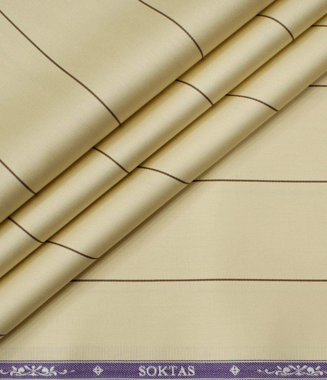 Soktas Men's Giza Cotton Striped Unstitched Shirting Fabric (Daffodil Yellow)