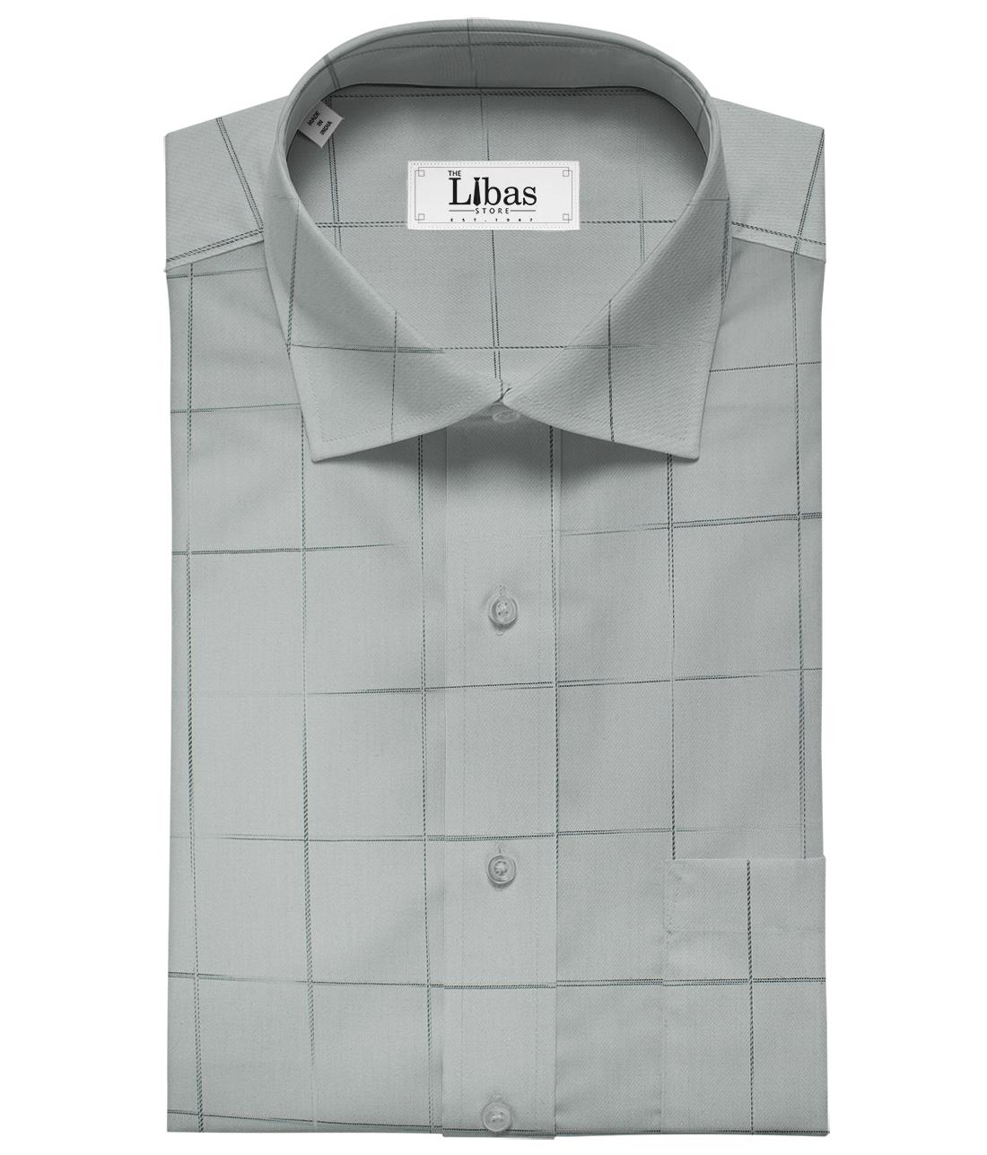 Soktas Men's Giza Cotton Checks Unstitched Shirting Fabric (Silver Grey)