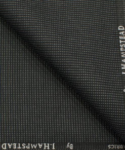 J.Hampstead Men's Polyester Viscose Structured 3.75 Meter Unstitched Suiting Fabric (Dark Grey)
