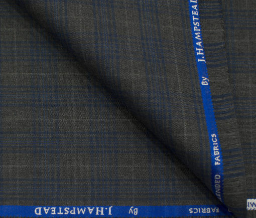 J.Hampstead Men's Polyester Viscose Checks 3.75 Meter Unstitched Suiting Fabric (Grey)