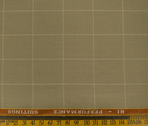 Cadini Men's Polyester Viscose Checks 3.75 Meter Unstitched Suiting Fabric (Khakhi )
