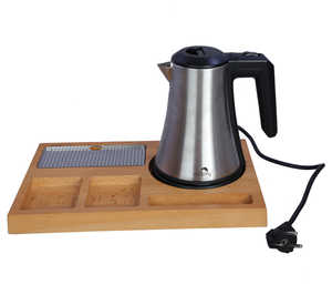 Electric kettle with wooden tray