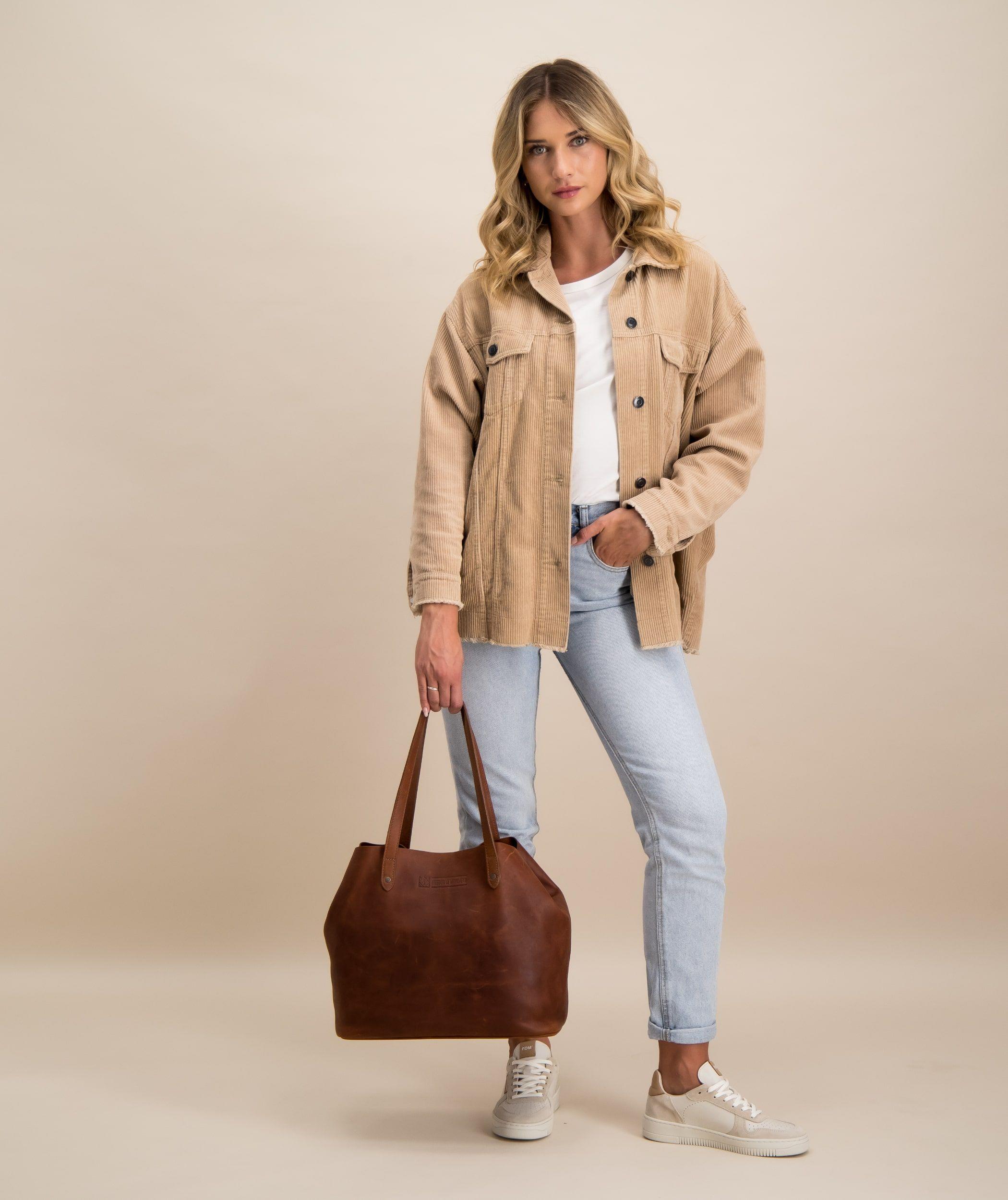 Model with handbag