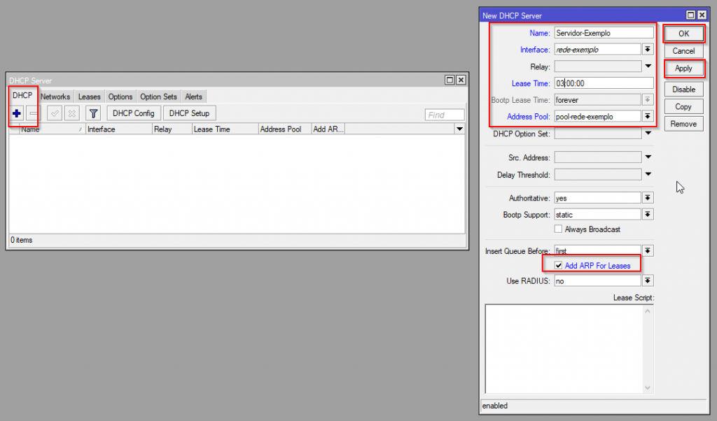Configuração DHCP Server