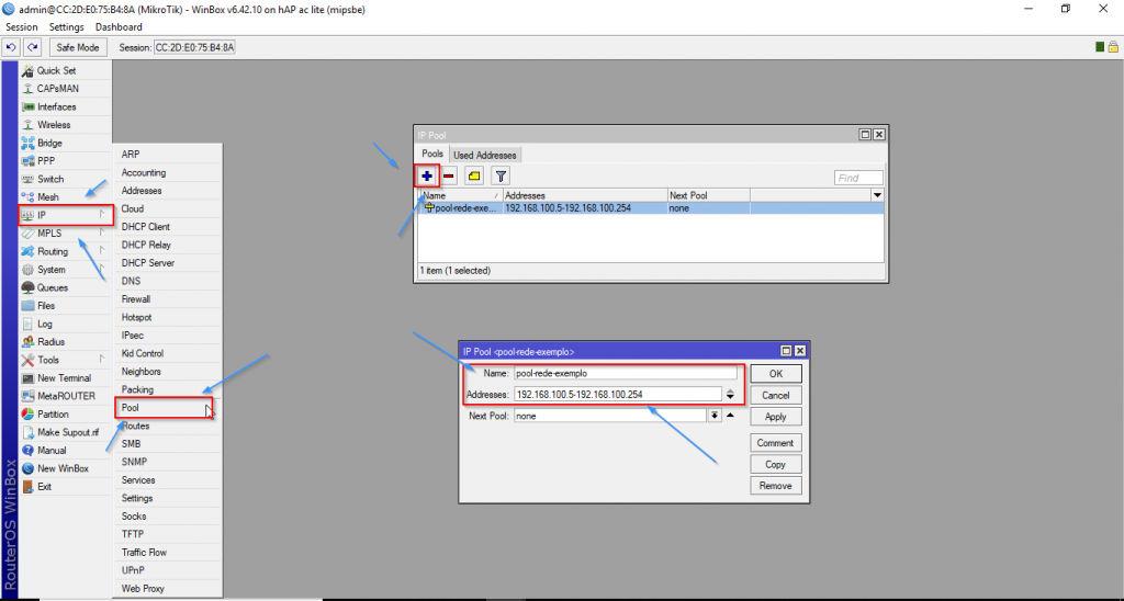 Configuração Pool DHCP