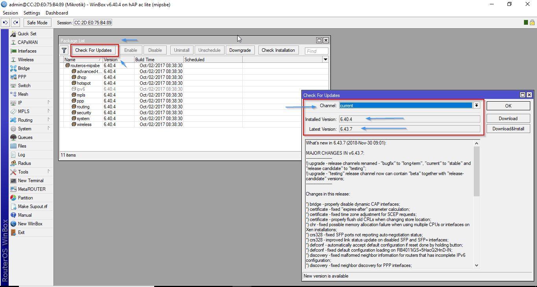 Informações da Versão do RouterOS