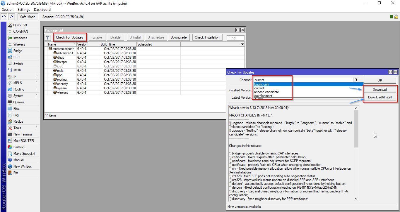 Informações da Versão RouterOS
