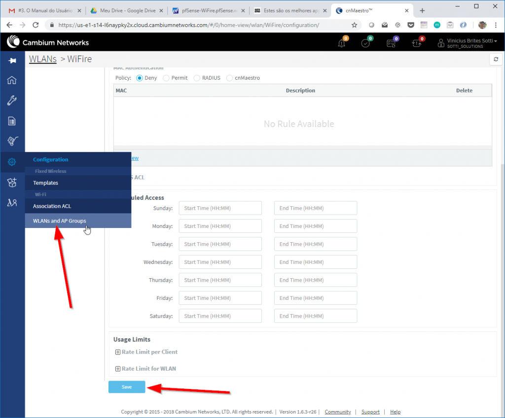Salvando as Configurações da WLAN e Guest Access