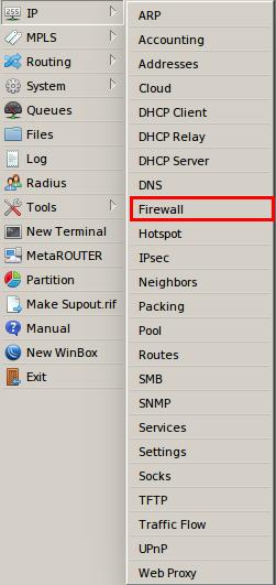 Tela IP Firewall roteador mikrotik