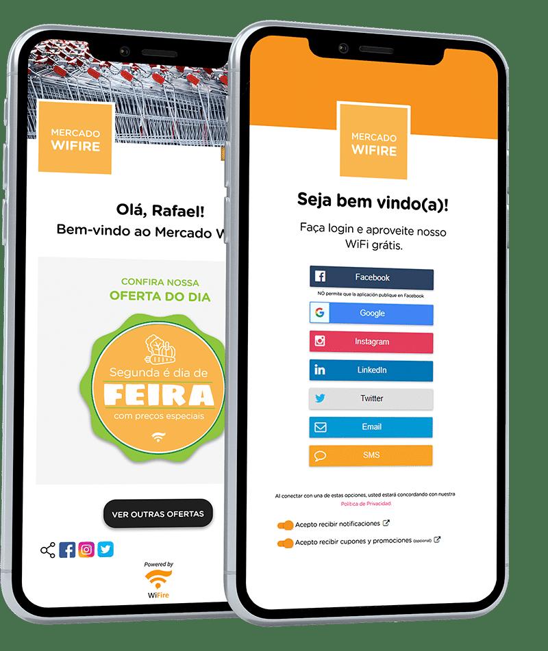 Mockup de campanha mobile marketing em autenticação de rede Wifi de supermercados