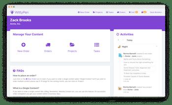 WittyPen content management dashboard