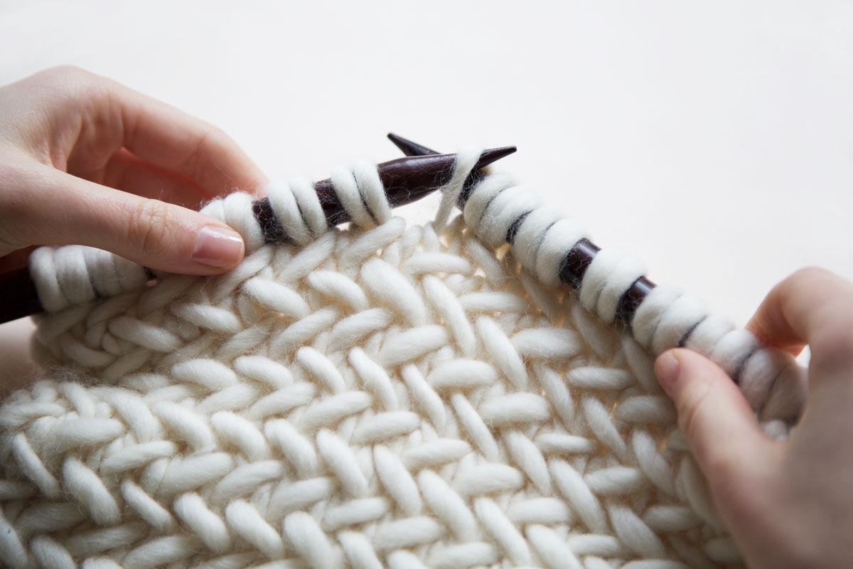 Learn how to knit herringbone stitch