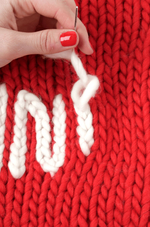 Learn how to add chain stitch to your knits with Wool and the Gang