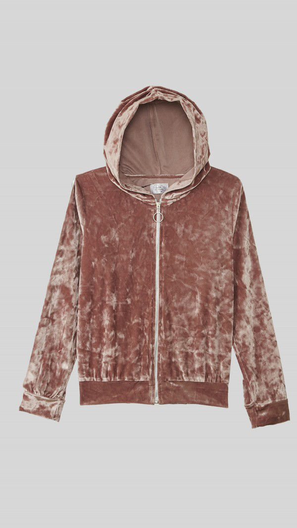 Beyond Clouds - Teen Girls Zipper Front Velvet Hoodie