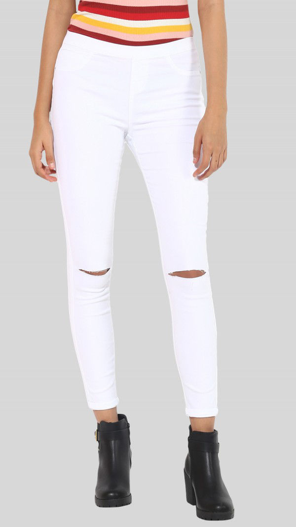 SbuyS - Knee Slit Slim Fit White Jegging