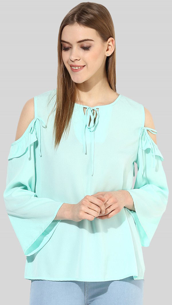 SbuyS  - Cold Shoulder Ruffle Top