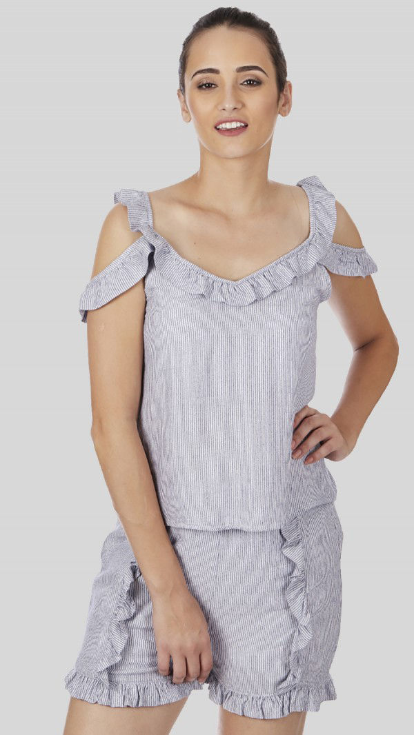 SbuyS - Cold Shoulder Ruffle Blouse