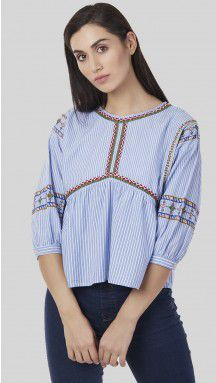 SbuyS - Embroidered Striper Peasant Top